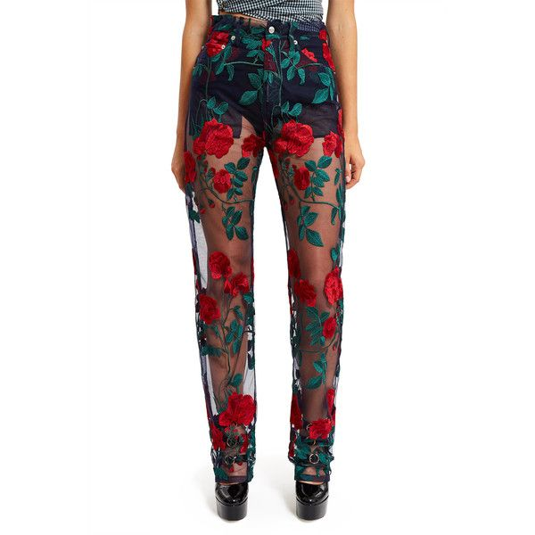527d673f39b1 Adam Selman Embroidered Tulle Rodeo Jeans ( 595) ❤ liked on Polyvore  featuring jeans