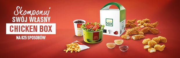 Stwórz swój własny zestaw z Chicken Box! Od 2 października we wszystkich restauracjach McDonald's do każdego Chicken Boxu będzie można dokupić dodatki w promocyjnej cenie. Dodatkowo do każdego zakupionego Chicken Boxu goście dostaną butelkę Lipton Ice Tea o smaku cytrynowym. Do oferty powracają również Frytki Zakręcone ;)