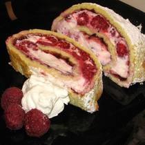 Hungarian Raspberry-Cream Roll Cake
