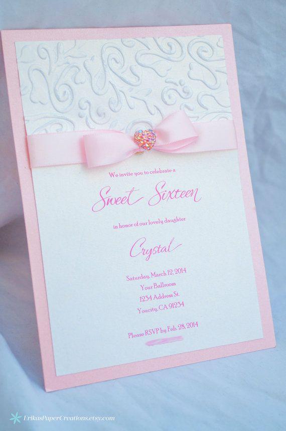 Embossed shimmery invitation sweet sixteen quinceanera quinceañera fifteen 15 16 inviattions invitaciones invites