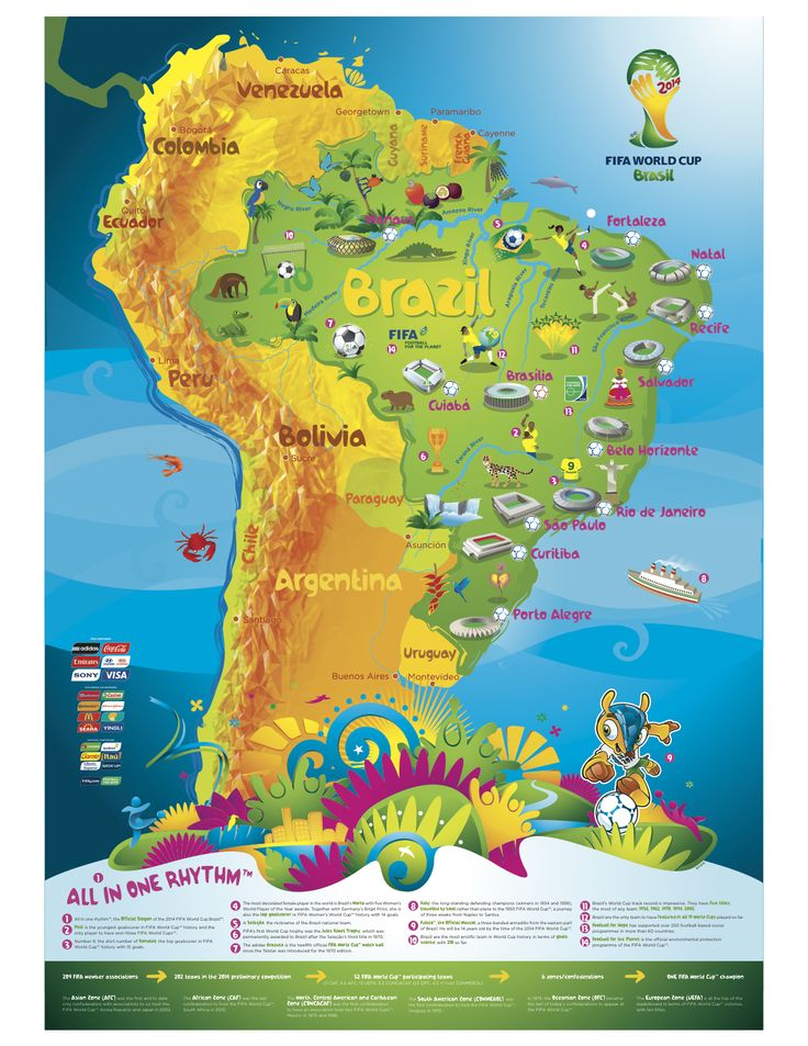 1101 best world cup 2014 brazil images on pinterest world cup wayfinding this image of the world cup from 2014 in brazil shows the different stadiums used during the event blending images with the natural geography gumiabroncs Images