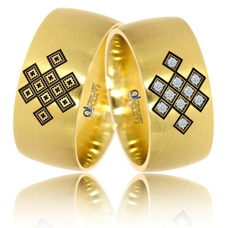 Verighete din aur galben cu motive traditionale romanesti Lavinia