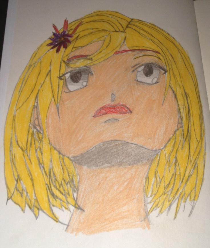 Manga-jente #3. Blyant og fargepenn. Jonatan 15/10 2012.