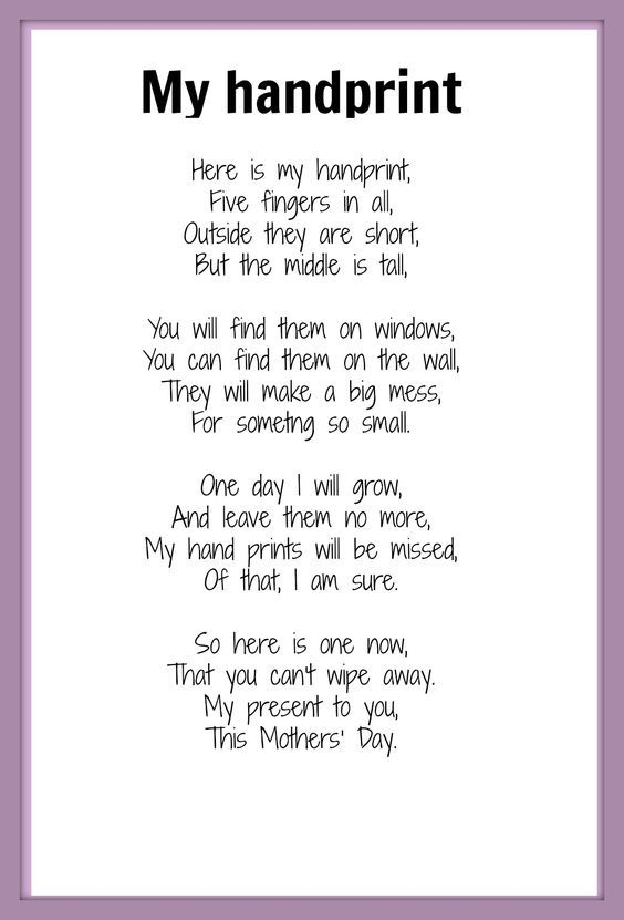 """Mother's Day poem - My Handprint   NOTE: word """"something"""" is missing the letters h & i:"""