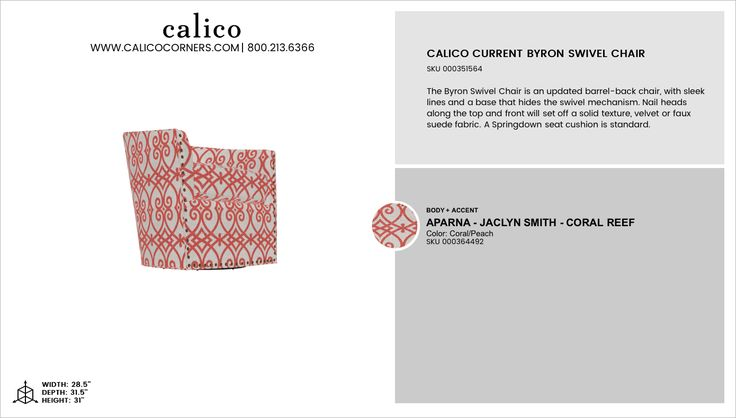 Calico Current Byron Swivel Chair in Aparna - Jaclyn Smith - Coral Reef with an accent of Aparna - Jaclyn Smith - Coral Reef