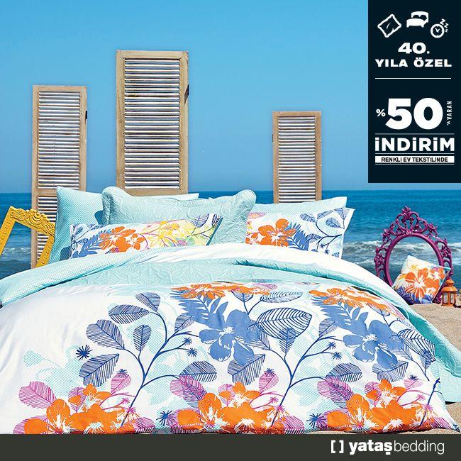 Yataş'ın 40. yılı şerefine renkli ev tekstili ürünlerinde %50'ye varan indirim fırsatlarını kaçırmayın!  Yazın tüm renklerini yatak odalarınıza taşıyacak birbirinden şık ev tekstili ürünlerinde indirim kampanyaları, 15 Temmuz - 30 Eylül 2016 tarihleri arasında, Yataş mağazalarında sizleri bekliyor!