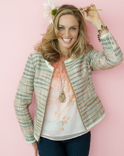 Love this look, Soft peach floral with a taylored spring jacket.