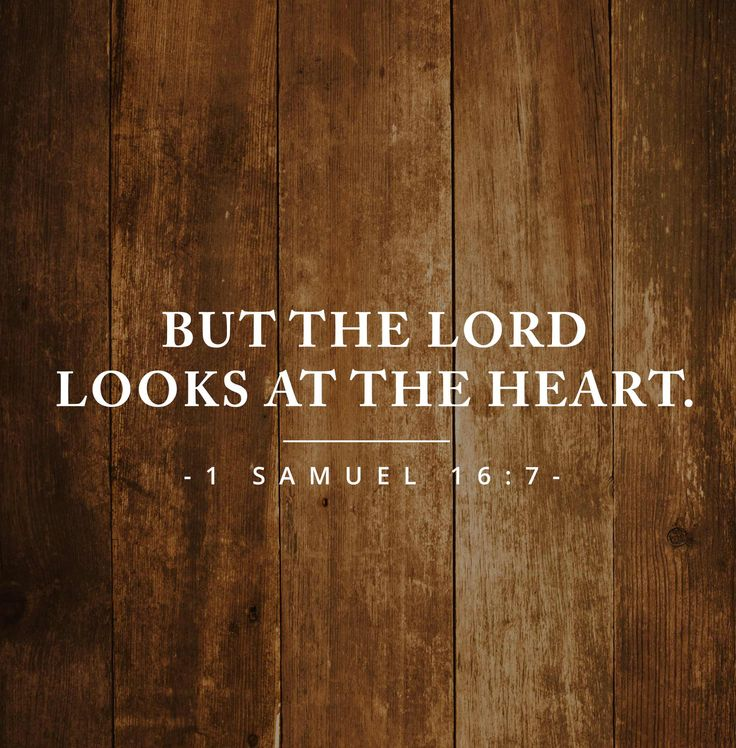 """But the LORD said to Samuel, """"Do not consider his appearance or his height, for I have rejected him. The LORD does not look at the things people look at. People look at the outward appearance, but the LORD looks at the heart."""" 1 Samuel 16:7    https://www.ourdailybreadcrumbs.com/1-samuel-16-7-v2/"""