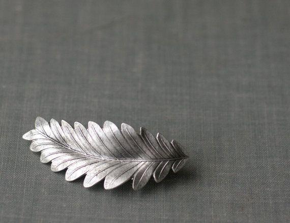Leaf hair clip barrette grecian bridal goddess silver finish neoclassical regency