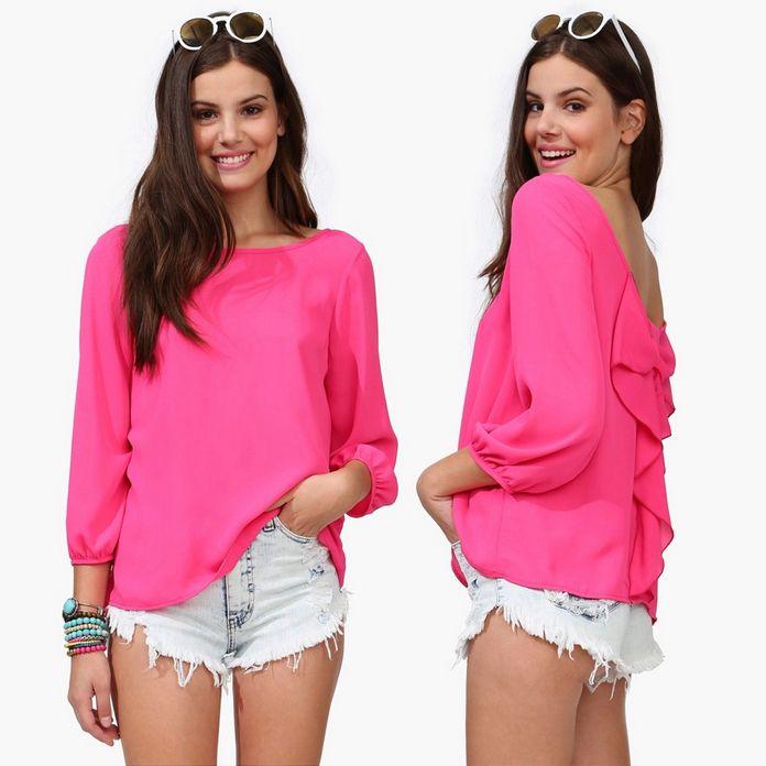 Europa- amerika 5 kleuren new2014 zomer terug boog o- hals plus size chiffon halter chiffon losse shirt blouse tops vrouwen kleding