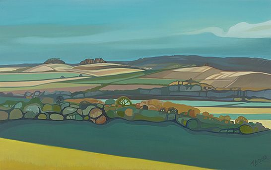 Anna Dillon. Wittenham Clumps seen in the distance from Lardon Chase. Lardon Chase is right on the border of Berkshire and this view looks out over Oxfordshire Countryside