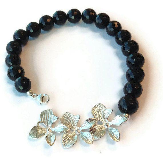 Onice nero Bracciale argento gioielli fiore di jewelrybycarmal