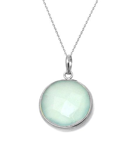 Sea Green Chalcedony & Sterling Silver Round Pendant Necklace | zulily