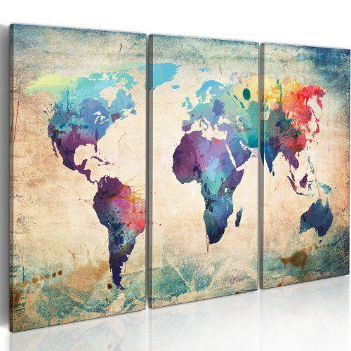 XXL Format Bilder XXL Fertig Aufgespannt Top Vlies Leinwand 3 Teilig Weltkarte Wand Bilder 020113-47 120x80 cm B&D XXL Riesen Bilder Kunstdruck Wandbild