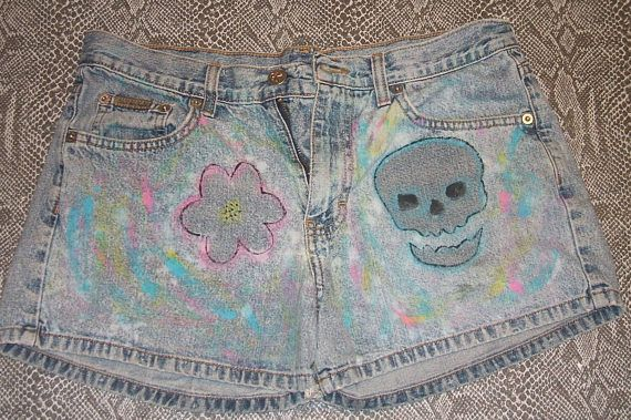 Hand Painted, Ladies, Denim Shorts, Skull, Flower, Bleached, Upcycled, Calvin Klein, Boho, Gypsy, Hippie, Graffiti Art, Short Shorts,Size 8