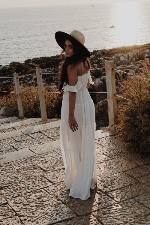 Vanessa Hudgens boho flowing white dress & wide brim hat