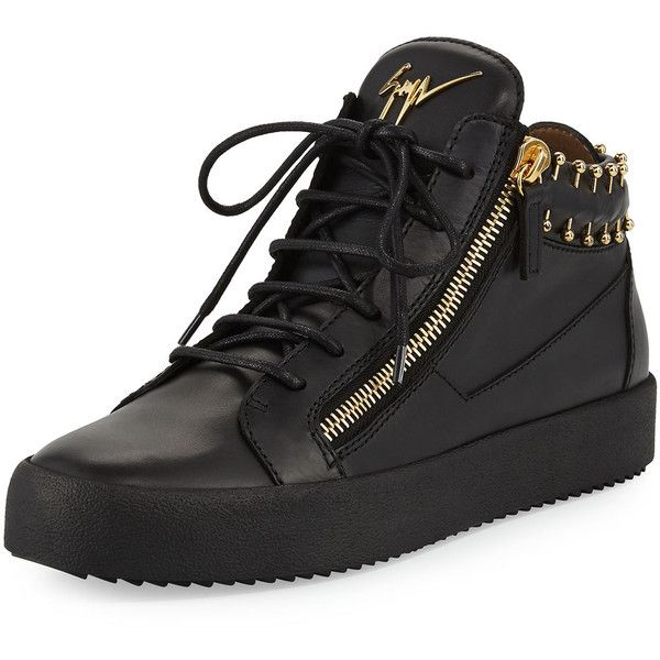Giuseppe Zanotti Men's Leather Mid-Top Sneaker with Gold Piercing... (3,730 SAR) ❤ liked on Polyvore featuring men's fashion, men's shoes, men's sneakers, black, mens lace up shoes, black and gold mens sneakers, mens black sneakers, mens leather shoes and giuseppe zanotti mens shoes