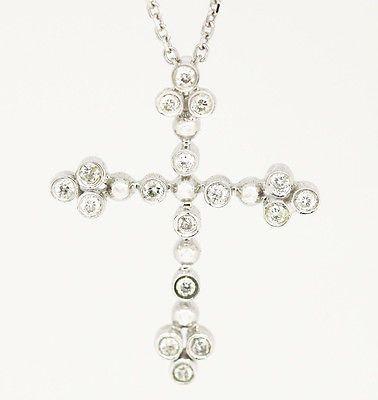 "Elegant 14k & 18k White Gold SI1-SI2,G, 0.21tcw Diamond Cross Necklace 16"""