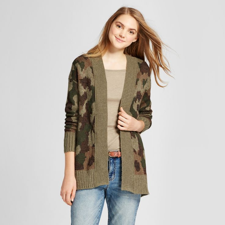 Women's Camo Print Cardigan - Mossimo Supply Co Olive S, Green