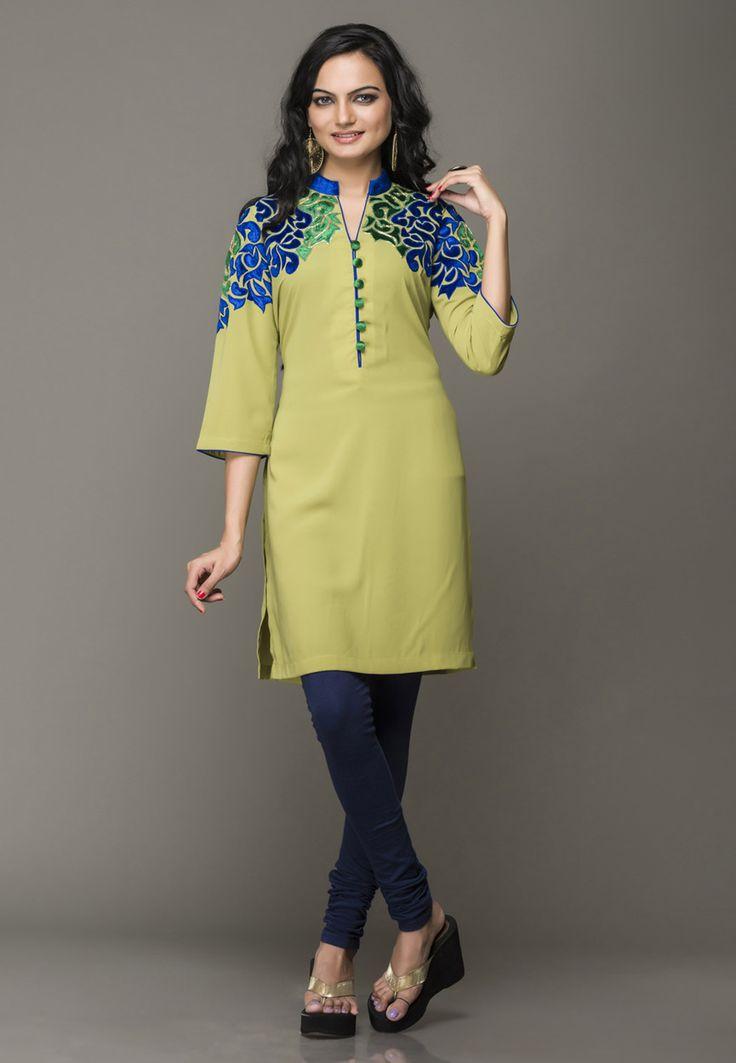 Mehendi Green Faux Crepe Readymade Kurta Online Shopping: TCD118