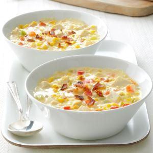 Easy Chicken Corn Chowder Recipe -I play around with ingredients in my pantry instead of running to the store when I don't know what's for dinner. Here's a happy experiment. Cut some fat by leaving out the bacon. It's still tasty. —Barbara Banski, Fenton, Michigan