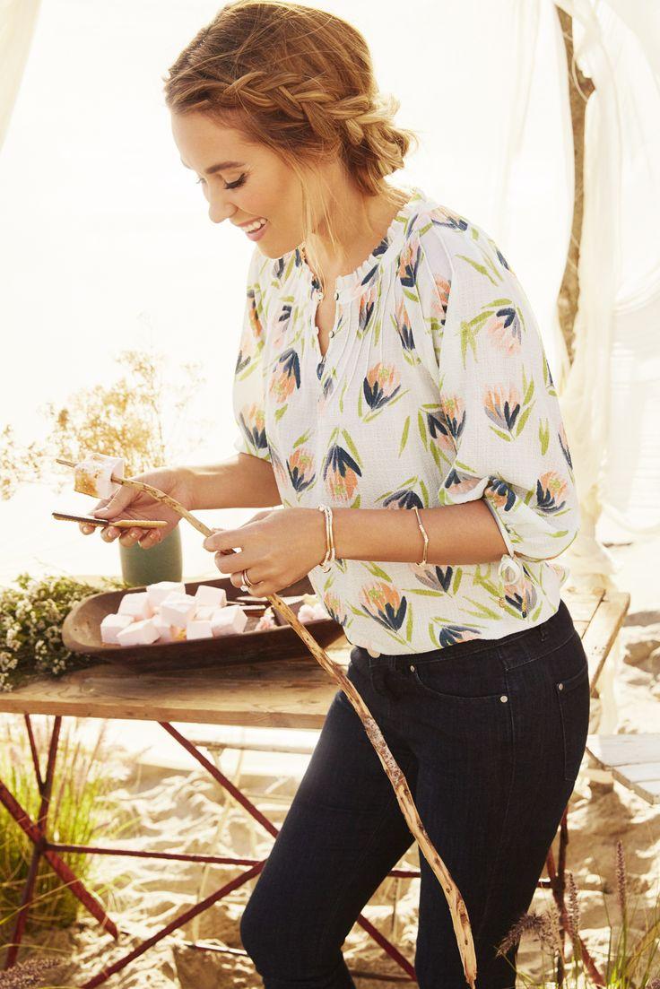 Lauren Conrad - LC for Kohl's | hair - braided bun updo + print long sleeve blouse + black skinny jeans