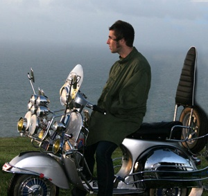 Liam Gallagher on Vespa