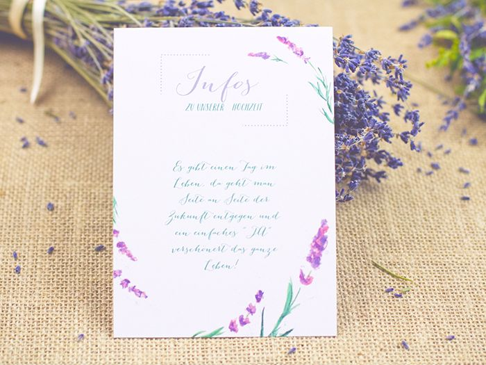 country wedding stationery with lavender