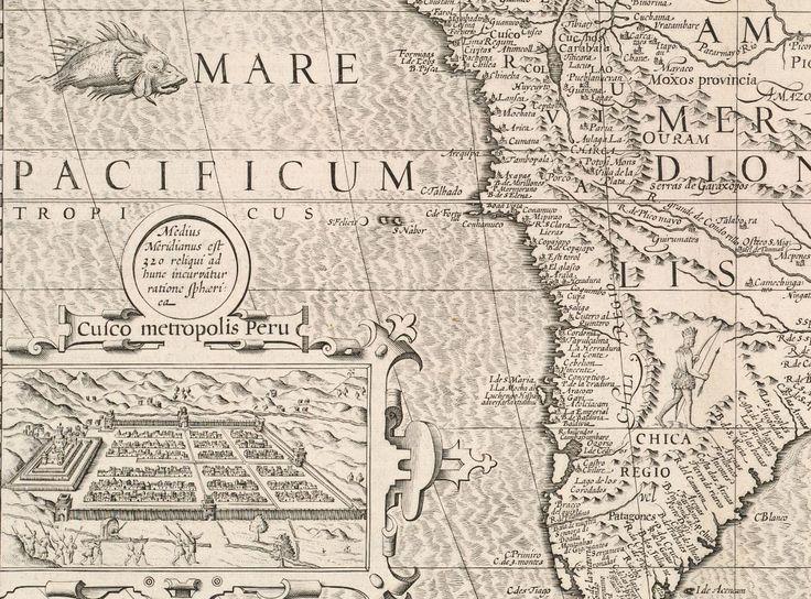 На карте Южной Америки Герарда Меркатора (выпущена в 1633 году в Голландии) можно найти много всего удивительного.   Например, план города #Куско – столицы империи Инков. Или крошечные #Альпы. И, конечно, морское #чудище с озадаченным выражением морды (куда же без него?). Если приглядеться, то можно увидеть, что берег испещрен маленькими поселениями.   #карты #ЮжнаяАмерика #17век #география #картография #история #старыекарты #гравюра #картуш #иллюстрация #морскоечудище #инки #индейцы…