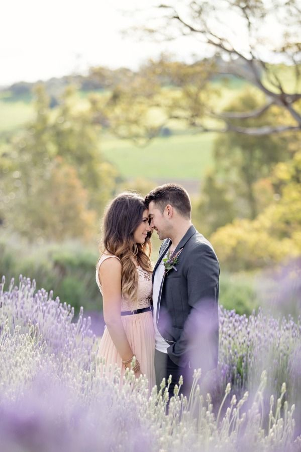 Aroha and Derrick's engagement pictures at the Lavender Farm in the Barossa Valley, South Australia.  Photo by Life in Still Photography, flowers by Poppies Flowers.