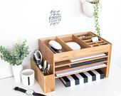 Wood Desktop Accessories, Office, Desktop Storage, Office Organiser, Charging Station.