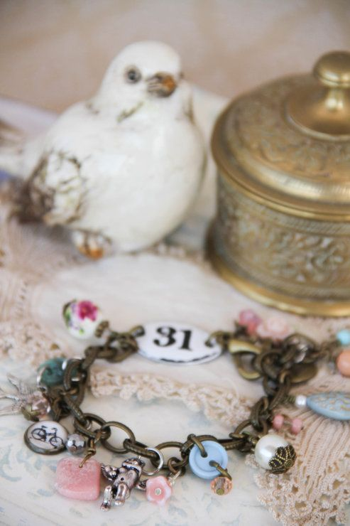 Eclectic vintage charm bracelet by Heart Jewelry Creations