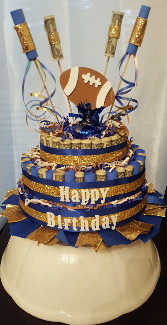 Football Money Cake Blue and Gold Money Cake by RibbonsandConfetti