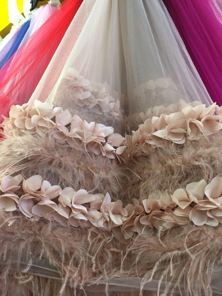 Melocotón tela de encaje de color rosa con flores en 3D, tela de encaje de novia, vestido de tela de encaje de alta costura con 3D flores y plumas en   de   en AliExpress.com   Alibaba Group