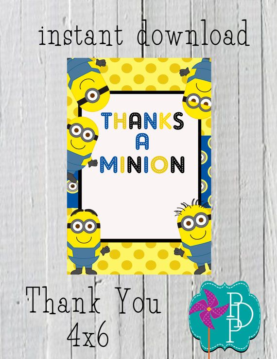 Minion Inspired Thank you Card 4x6-instant by PolkaDotPinwheel