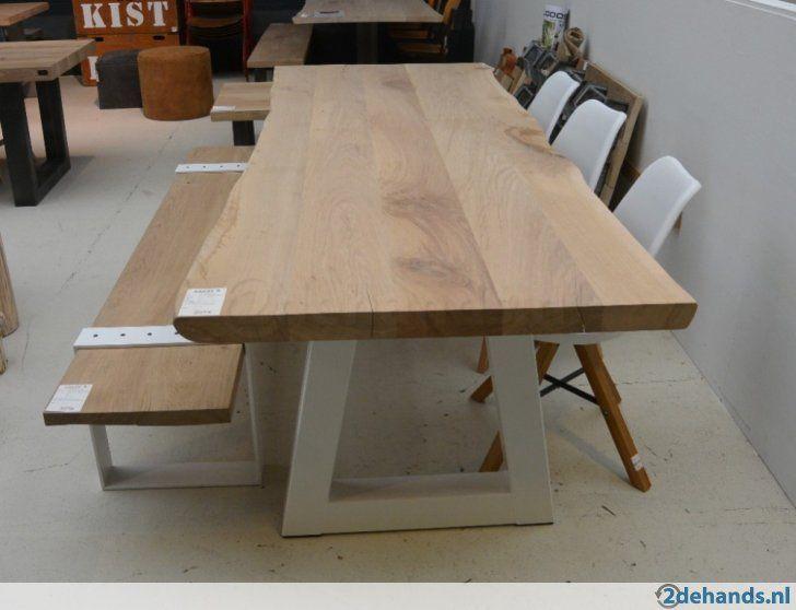 Boomstamtafel grote tafel massief eiken poten wit