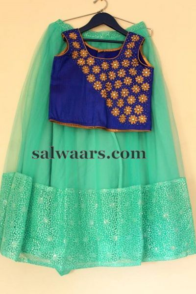 Sea Green Blue Lehenga - Indian Dresses
