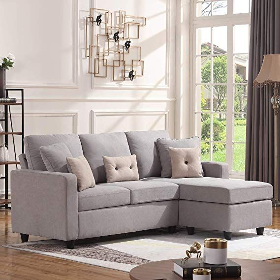 Amazon Com Honbay Convertible Sectional Sofa Couch L Shaped Couch With Modern Linen Fabric For Sma With Images Sofas For Small Spaces Sectional Sofa Couch L Shaped Couch