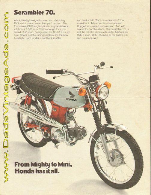 1970 Honda Scrambler 70 CL-70 K1 vintage motorcycle brochure with photos & specs
