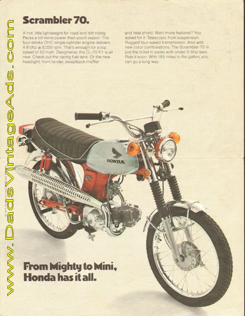 1970 Honda Scrambler 70 CL-70 K1 vintage motorcycle brochure with photos & specs