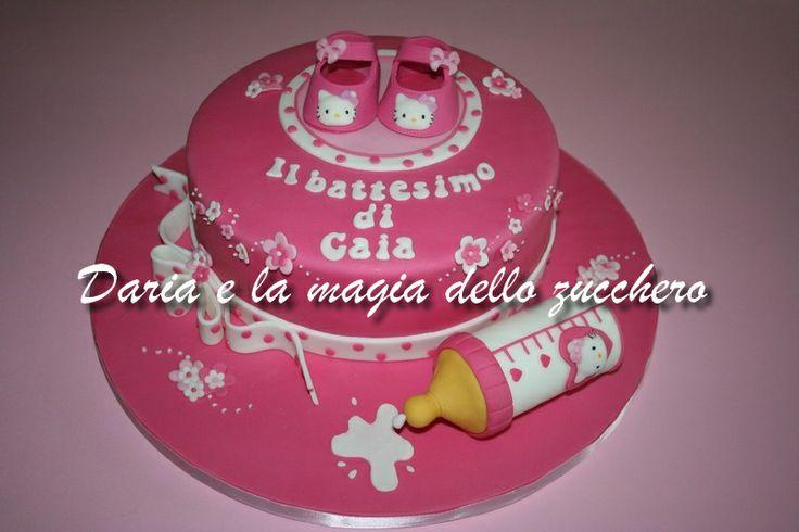 #Torta battesimo #Baptism cake #Hello Kitty #Baby shoes Hello Kitty