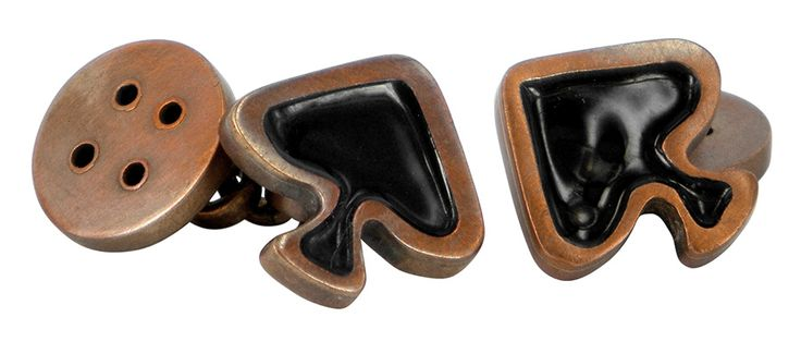 Pair of spades brass cufflinks