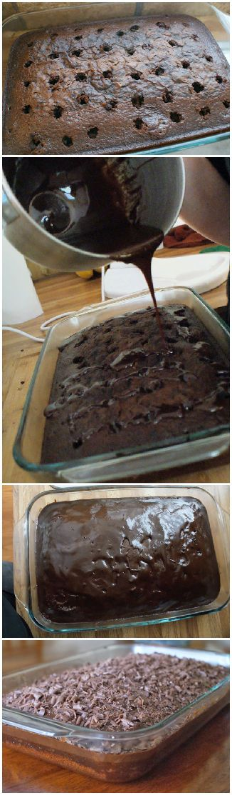 Triple Chocolate Poke Cake made from scratch!  No box mix, no jello, no cans of frosting.  Just real, whole ingredients whipped up to make a sweet treat that is utterly divine.