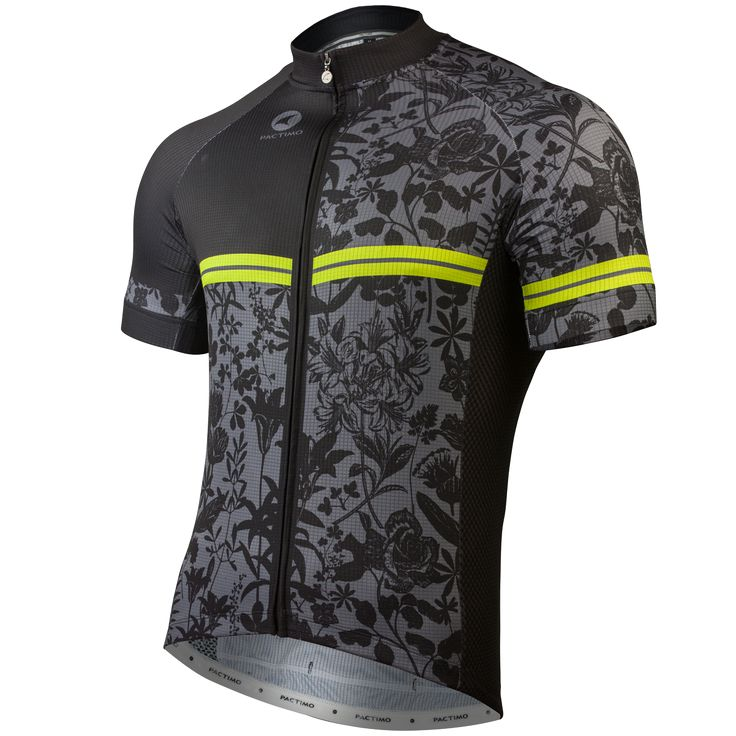 The Black Botanical Cycling Jersey by Gregory Klein Men's | Artist-Inspired Cycling Apparel | Pactimo