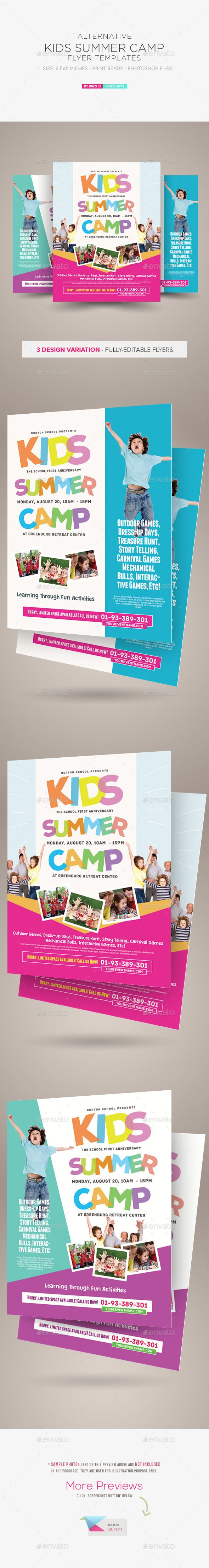 Kids Summer Camp Flyer Templates — Photoshop PSD #competition #kid • Available here → https://graphicriver.net/item/kids-summer-camp-flyer-templates/10476259?ref=pxcr