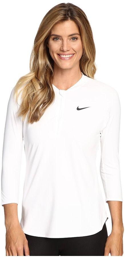 Nike Court Dry 3/4 Sleeve Half-Zip Tennis Top, Sweater, Tennis Dress, Tennis Fashion Women trendy Tennis Outfits for her, Tennismode, sportliche Mode fürs Tennisspielen.