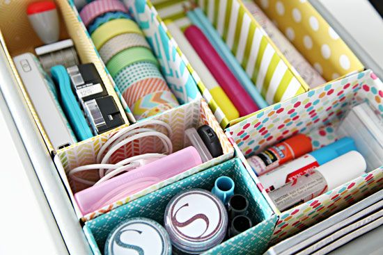 Organize your desk drawers with these dividers made from old cereal boxes. | 17 Super Simple Dorm Organization Tricks