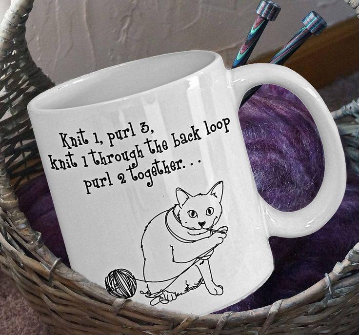 Knitting Lover Gift, Funny Knitting Mug, Cat Lover Gift, Cat Lover Mug, Knitting Ornament, Knitting Gift, Cat Mug, Cat Gift,Craft Lover Gift by PortunaghDesign on Etsy