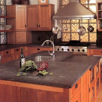 Honed Slate Kitchen Countertop with Shaker style cherry cabinets - By  Stoneshop I want slate countertops