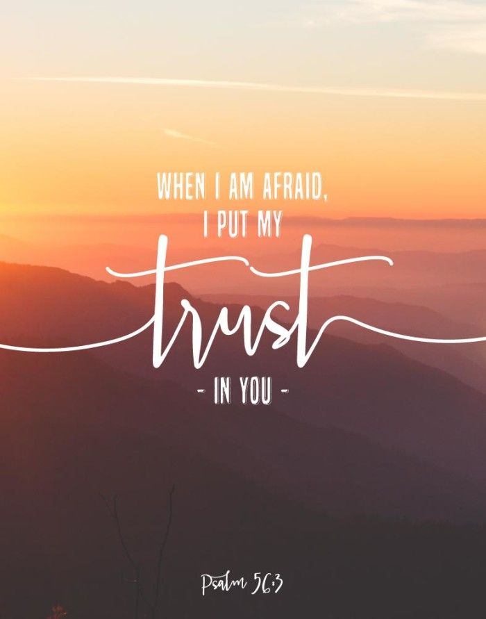 $5.00 Bible Verse Print - When I am afraid I put my trust in you Psalm 56:3 When we're afraid it can literally consume us by the thought of the worst thing happening. However, when we put our trust in the Lord, He gives us the peace and comfort that we need to keep to get rid of that fear and accomplish the things we are called to do. - Different size options available. #bibleverse #bibleverseprint #christianart #iputmytrustinyou #psalm56 #christiandecor #christianprints